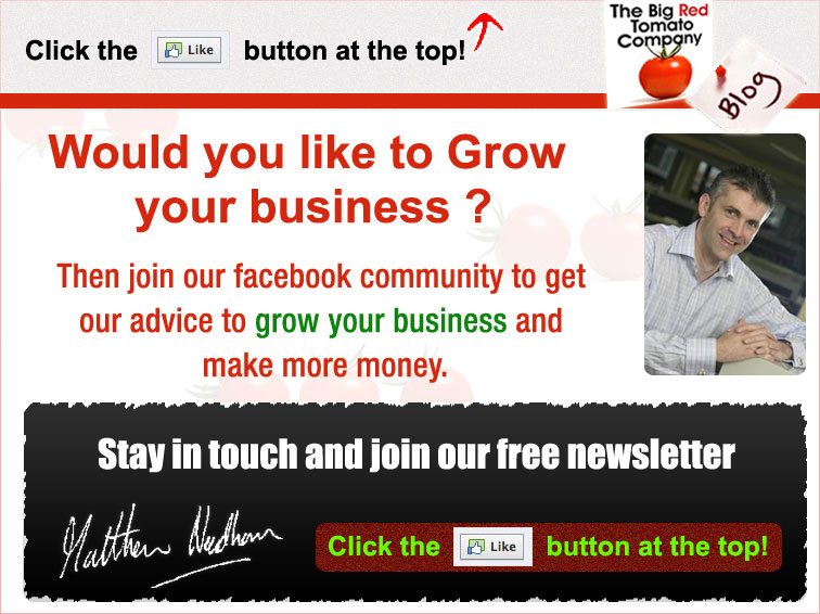The Big Red Tomato Company Facebook Landing Page