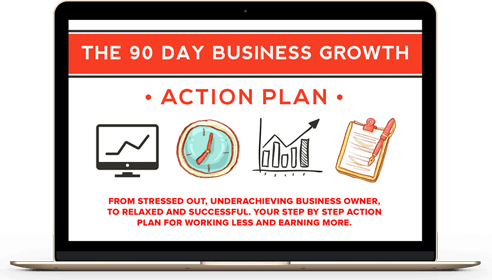 Laptop showing the 90-Day Business Growth Action Plan